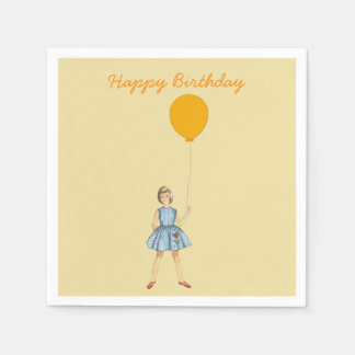 Happy birthday, girl, balloon, yellow background paper serviettes
