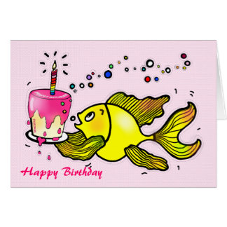 Happy Birthday Girl Fish - funny cute cartoon Card