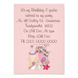 Happy Birthday Girl wishes 1 Year Old 13 Cm X 18 Cm Invitation Card