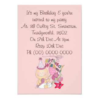 Happy Birthday Girl wishes 1 Year Old 5x7 Paper Invitation Card