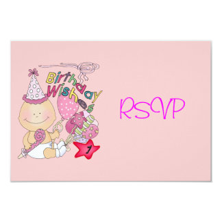 Happy Birthday Girl wishes 1 Year Old 3.5x5 Paper Invitation Card