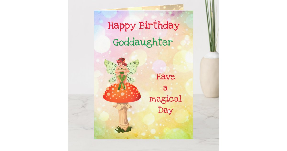 Happy Birthday Goddaughter Fairy Design Card Zazzle