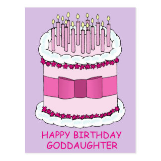 Happy Birthday Goddaughter, pink cake. Postcard