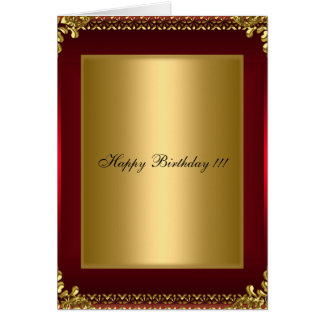 Happy Birthday Gold and Red Greeting Card