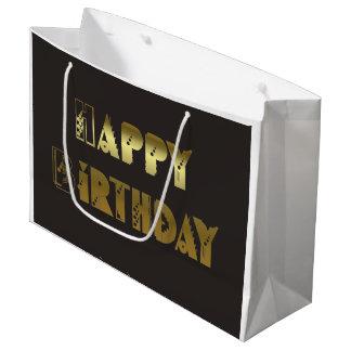 Happy Birthday Gold Celebration Large Gift Bag
