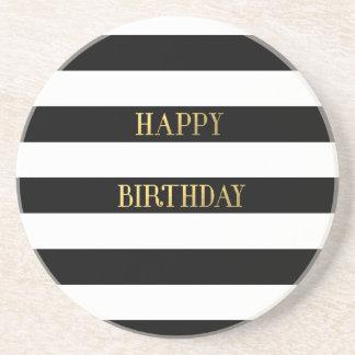 Happy Birthday Gold Drink Coasters