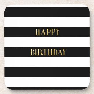 Happy Birthday Gold Drink Coaster
