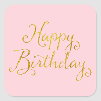Happy Birthday Gold Faux Glitter Metallic Sequins Square Sticker