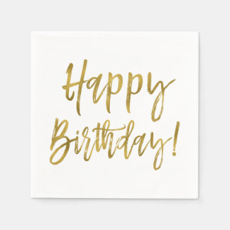 Happy Birthday Gold Foil Napkins Disposable Serviettes