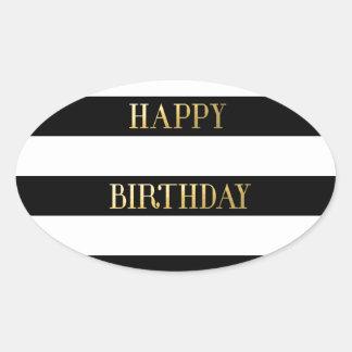 Happy Birthday Gold Oval Sticker