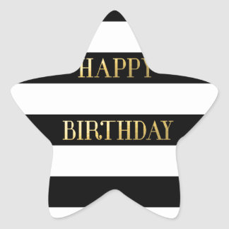 Happy Birthday Gold Star Sticker
