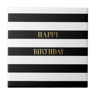 Happy Birthday Gold Small Square Tile