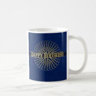Happy Birthday Golden Compass Design Coffee Mug