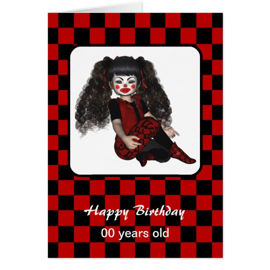 Happy Birthday Gothic Checks Clown Kid Card