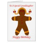 Happy Birthday granddaughter gingerbread girl Greeting Card