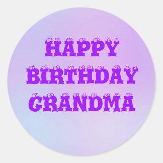 Happy Birthday Grandma Multi Tone Round Stickers