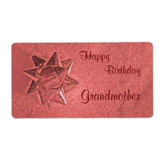 Happy Birthday Grandmother Gift Tag Shipping Label