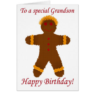 Happy Birthday grandson cookie gingerbread boyl Card