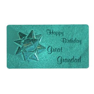 Happy Birthday Great Grandad Gift Tag Shipping Label