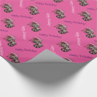 Happy Birthday! Greedy Raccoon Cake Cartoon Wrapping Paper