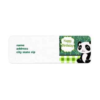 Happy Birthday Green Bamboo Panda Return Address Label