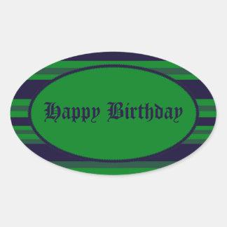 Happy Birthday green blue stripes Oval Sticker