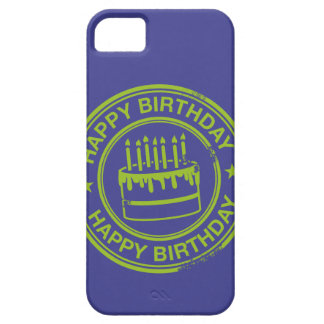Happy Birthday -green rubber stamp effect- Barely There iPhone 5 Case