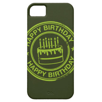 Happy Birthday -green rubber stamp effect- iPhone 5 Cover