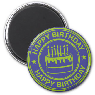 Happy Birthday -green rubber stamp effect- Magnets