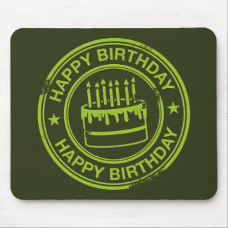 Happy Birthday -green rubber stamp effect- Mouse Pad