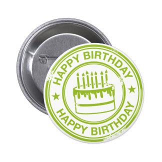Happy Birthday -green rubber stamp effect- Pins