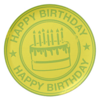 Happy Birthday -green rubber stamp effect- Dinner Plate