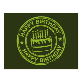 Happy Birthday -green rubber stamp effect- Postcard