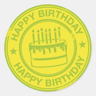 Happy Birthday -green rubber stamp effect- Round Sticker