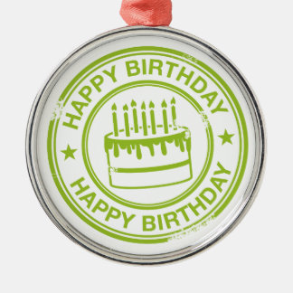 Happy Birthday -green rubber stamp effect- Silver-Colored Round Decoration