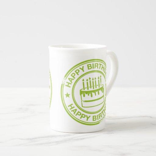 Happy Birthday -green rubber stamp effect- Bone China Mug