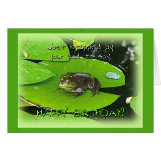 Happy Birthday Greeting - Bullfrog on Lily Pad Card