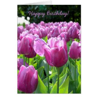 Happy Birthday Greeting Card Purple Tulips