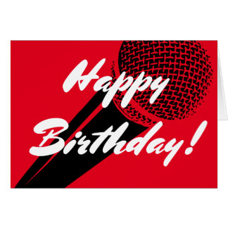 Happy Birthday greeting card with microphone image