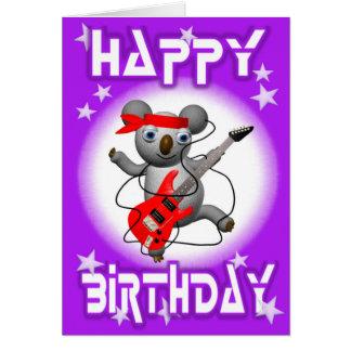 Happy Birthday Guitar Koala by Valxart Card