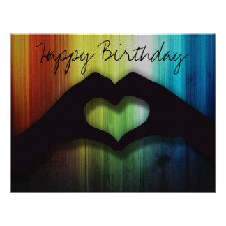 Happy Birthday Hand Hearts With Rainbow Wood Custom Invitations