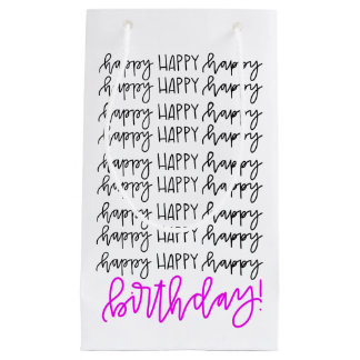 Happy Birthday Hand Lettered Gift Bag