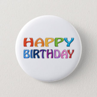 HAPPY BIRTHDAY - Happy 3D-like Colourful Gift 6 Cm Round Badge