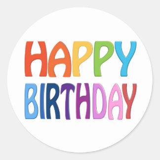 Happy Birthday - Happy Colourful Greeting Classic Round Sticker