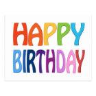 Happy Birthday - Happy Colourful Greeting Postcard