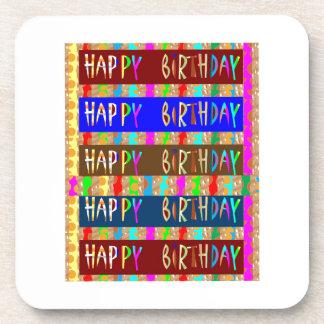 HAPPY Birthday HappyBirthday : Artistic Script Beverage Coaster