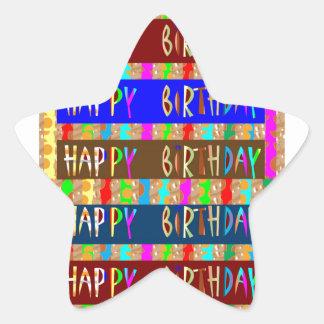 HAPPY Birthday HappyBirthday : Artistic Script Star Stickers