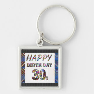 happy birthday happybirthday  designs Silver-Colored square key ring