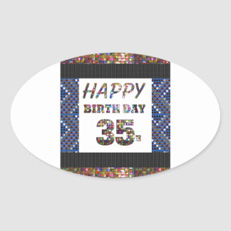 happy birthday happybirthday  designs oval sticker