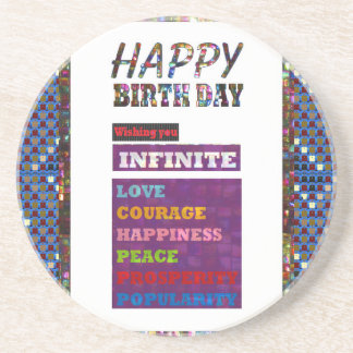 Happy Birthday HappyBirthday Greetings Gifts Beverage Coasters